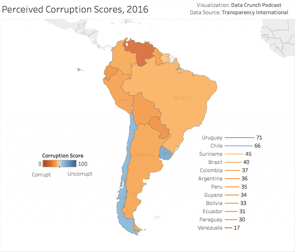 Latin America Government Corruption World Map