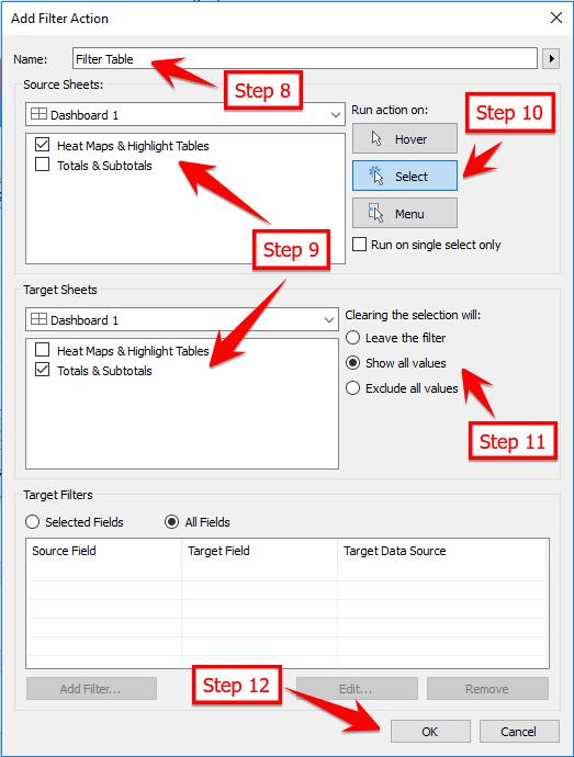 Action Filter Tableau