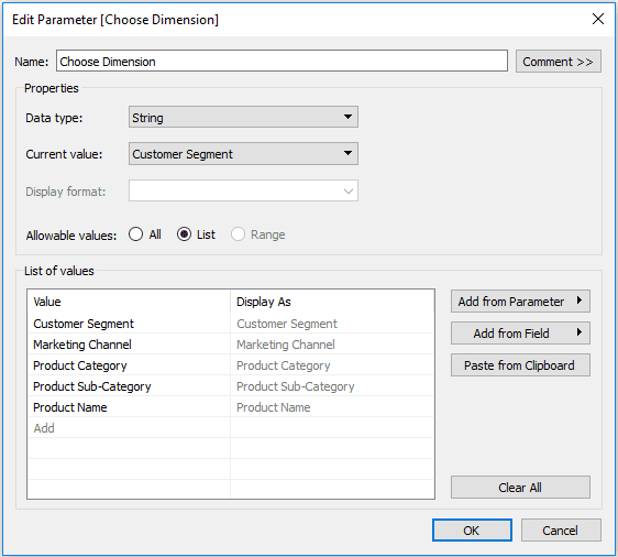 How to Create a Parameter in Tableau