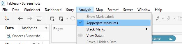 Tableau Aggregate Measures