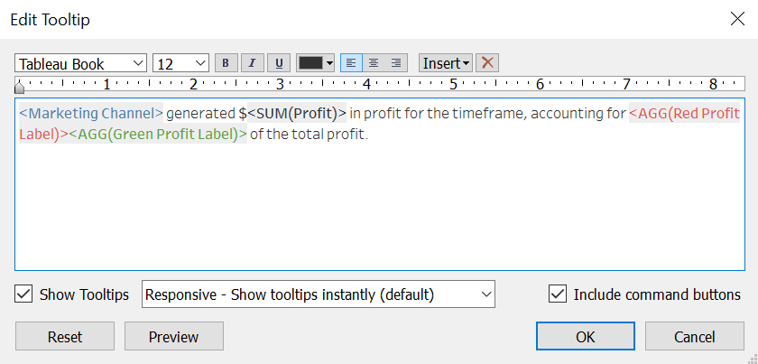 Tableau Format Tooltip