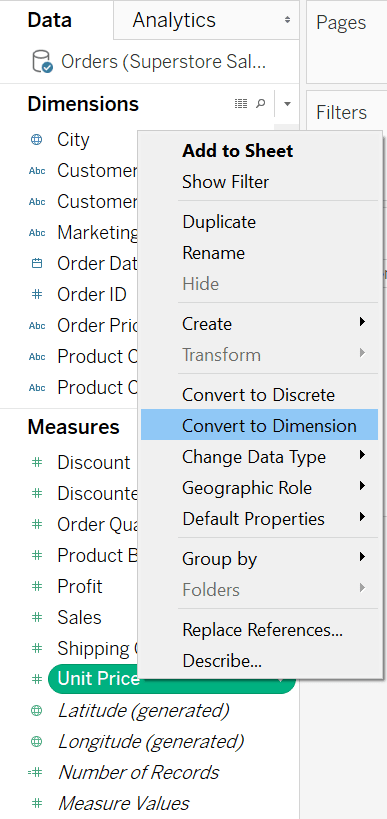 Tableau Measures vs Dimensions